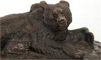 Bronze Bear Sculpture on Malachite Base