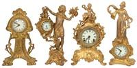 4 Gilt Metal Novelty Clocks