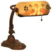 Handel Reverse Painted Peacock Desk Lamp