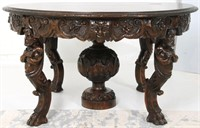 Heavily Carved Atlas Walnut Dining Table