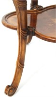 Pair of French Marquetry Inlaid 2 Tier Tables