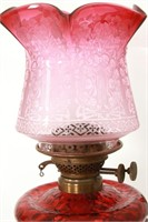 Brass & Cranberry Glass Oil Font Wall Sconce