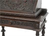 Carved Walnut Slant Front Desk with Cherub