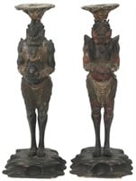 """Pair of Japanese Carved """"Oni"""" Figural Candlesticks"""