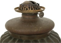 Bronze Oil Font Lamp With Satin Shade