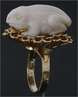 14K & Carved White Opal Cocktail Ring