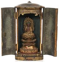 Japanese Lacquer Buddha Travel Shrine