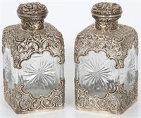 Pair of Tiffany Sterling Overlay Decanters