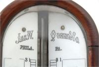 James W. Queen Mahogany Stick Barometer