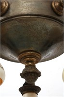 Bronze 5 Light Chandelier with Quezal Shades