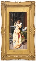 "Hand Painted Porcelain Plaque ""Gift To The Lover"""