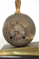 "Pair of New Haven ""Acrobat"" Bronze Mantle Clocks"