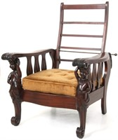 Figural Carved Mahogany Morris Chair