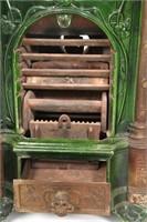 Cast Iron & Enamel Parlor Stove & Coal Hod