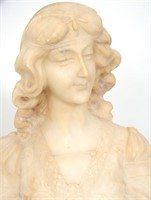 A. Cipriani Carved Alabaster Bust of a Woman