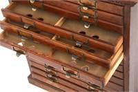 Oak 15 Drawer File Cabinet
