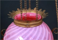 Cranberry Opalescent Swirl Brass Hall Lamp