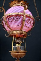 Cranberry Opalescent Swirl Brass Hall Lamp