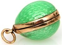 3 Attr. Russian 14K Gold Enamel Egg Pendants