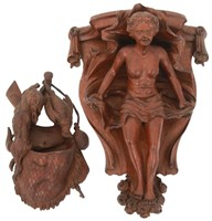 2 Figural Carved Wall Hanging Pieces
