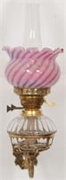 Brass & Cranberry Swirl Oil Font Wall Sconce