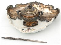 French Sterling & Porcelain Inkstand