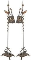 Pair of Wrought Iron Griffin Torchieres