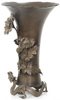 Large Oriental Bronze Dragon Vase