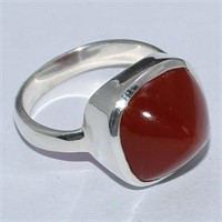 SILVER RED ONYX RING (126 - CR95)   (D2)