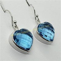 PAIR BLUE TOPAZ AND STERLING SILVER HEART EARRINGS