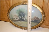 Curved Glass Frame and Farm Image
