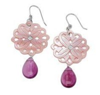 Sterling Silver Carved Earrings with Fluorite,Pink