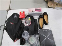 Box Lot of Shoes & Clothing Related Items