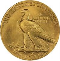 $10 1907 WIRE RIM. PCGS MS66 CAC CROW RIVER