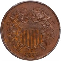 2C 1867 DOUBLED DIE OBVERSE. PCGS MS63 BN CAC