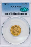 $2.50 1892 PCGS MS67 CAC