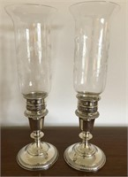 Set of Two Weighted Sterling Candlestick Holders
