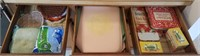 Lot of 3 drawers of pot holders, place mats, and