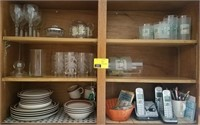 Lot of drink ware, dishes, phones, and more