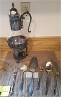 Peerless silver plate utensils and warming