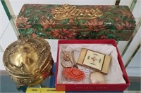 Lot of vintage items, glove box, jewelry box, and