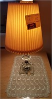Small lamp with lace doily