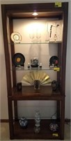 Vintage lighted display shelf, contents not