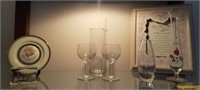 Lot of anniversary glassware and plate