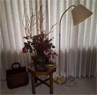 End table, magazine rack, flower, lamp
