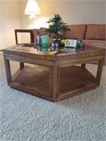 "Drexel hexagonal coffee table 39x45x17"" contents"
