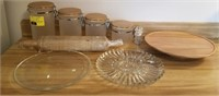 Lot of canister set, rolling pin, serving platers