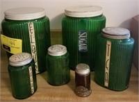 Vintage green glass canister set