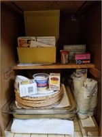 Lot of baking ware, recipe cards, and more