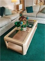 Coffee table, contents not included